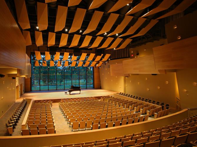 Distance shot of the interior of the empty Arthur Zankel Music Center