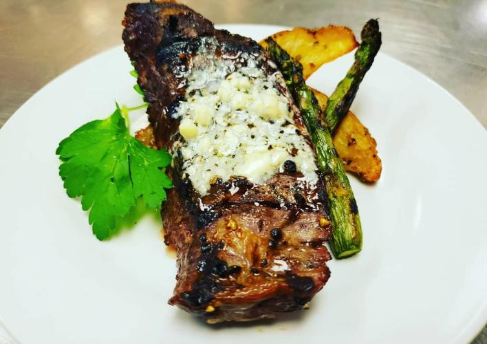 Prime NY Strip with Hooks Bleu Cheese Butter