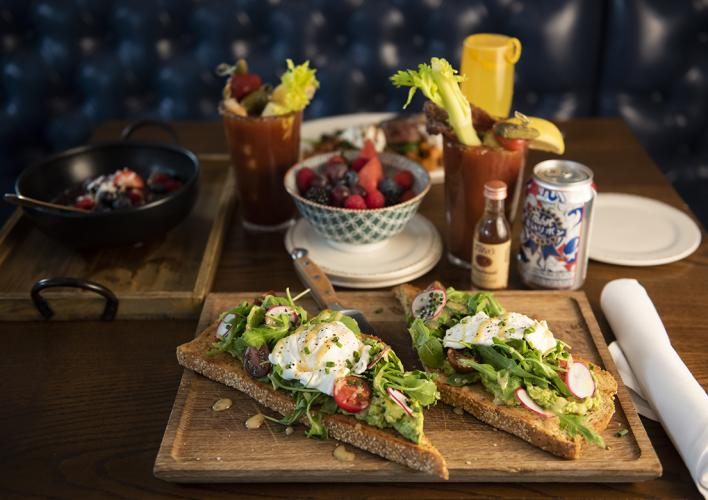 Brunch: Avocado Toast with Eggs and Bloody Mary