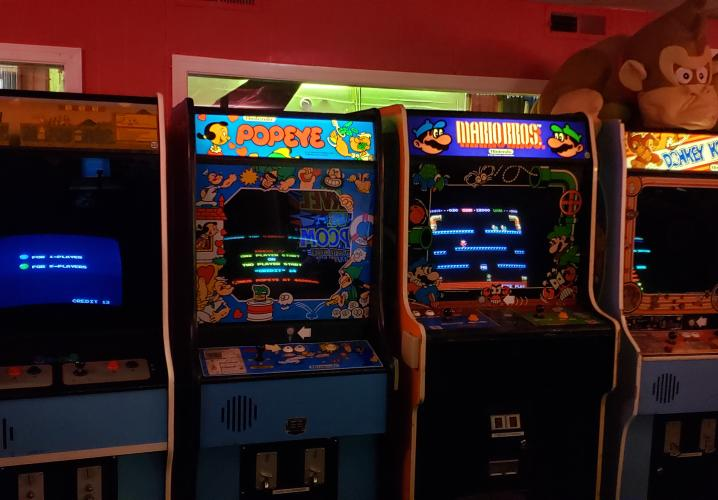 Arcade Cabinets in the Red Room