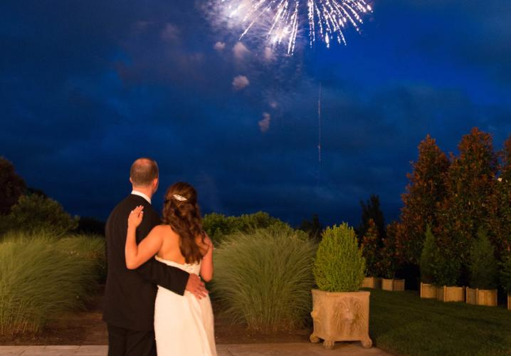 Bride and Groom and Fireworks at Keswick Hall and Golf Club