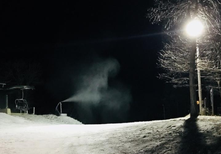Snowmaking at the top of Tyro Trail