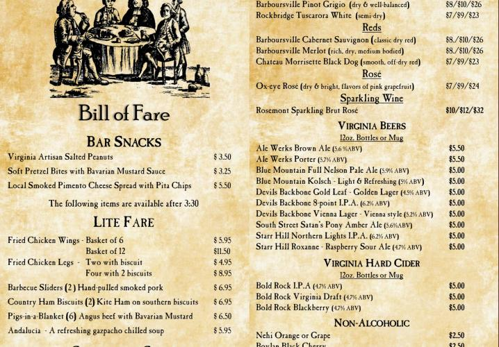Michie Tavern Pub menu