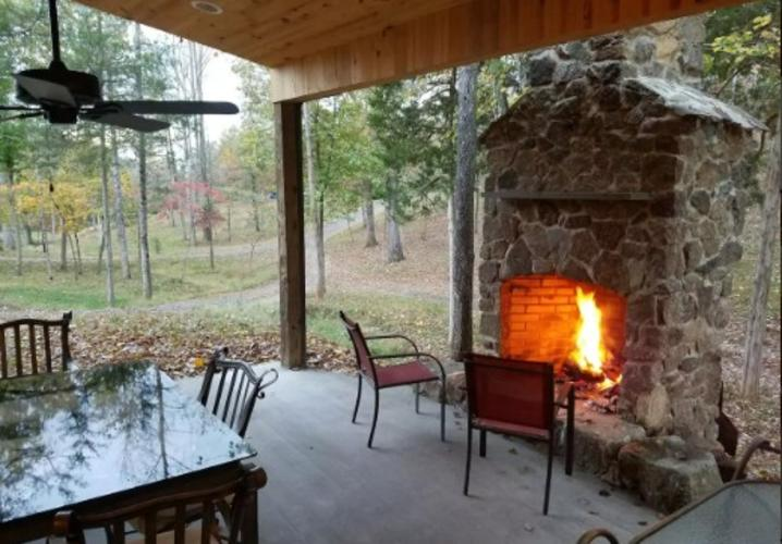 Open air fireplace patio