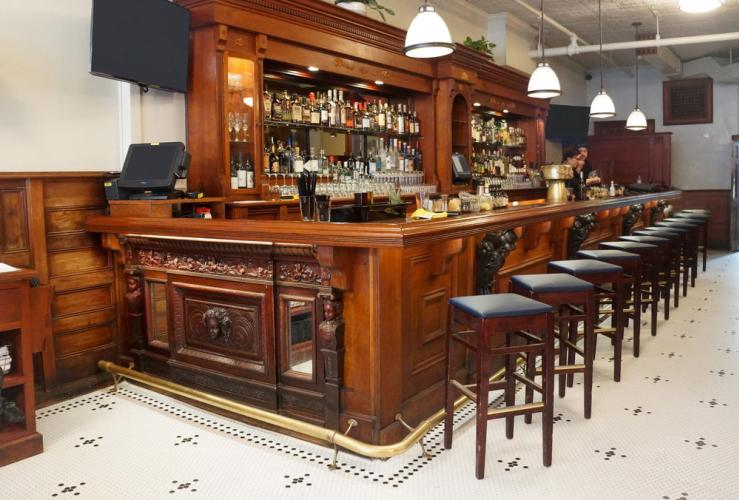 The Mercantile Kitchen and Bar stools at the bar