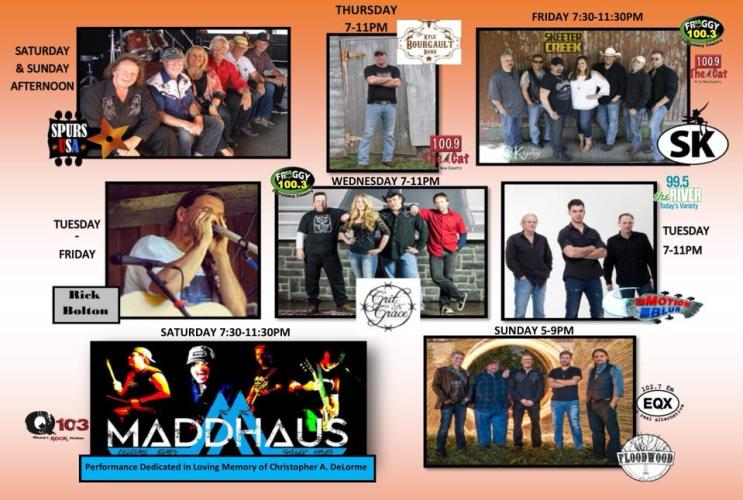 Saratoga Co. Fair poster with schedule and photos of performers