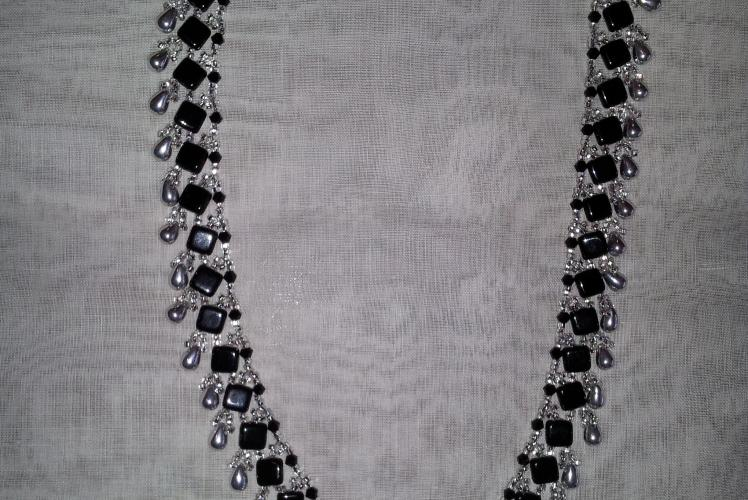 black and silver necklace with tila beads