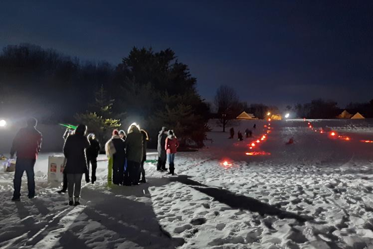 Community Glow Night sledding at Jelly Bean Hill