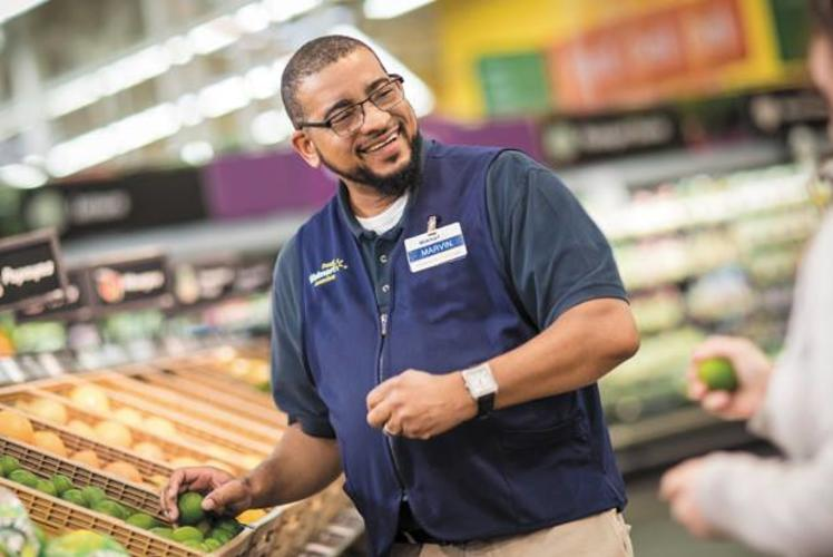 Walmart: worker in produce