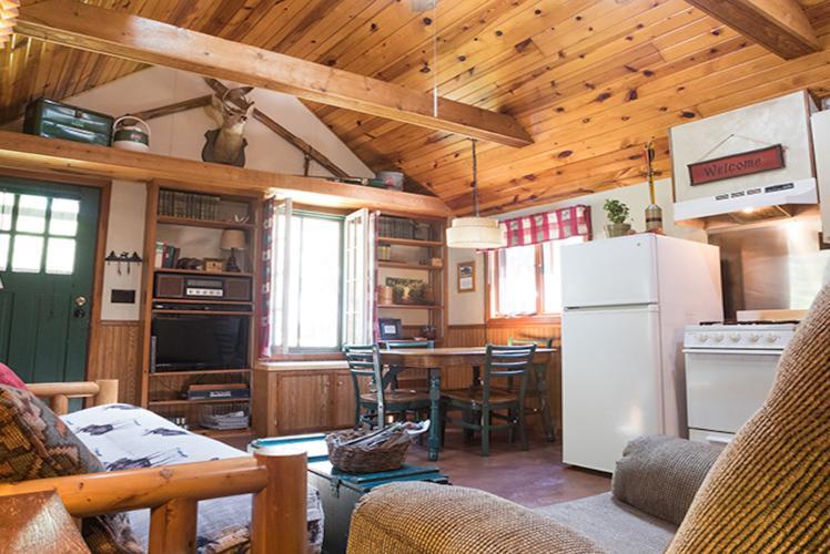Hideaway Resort Cabin Living Room - Chippewa Falls, WI