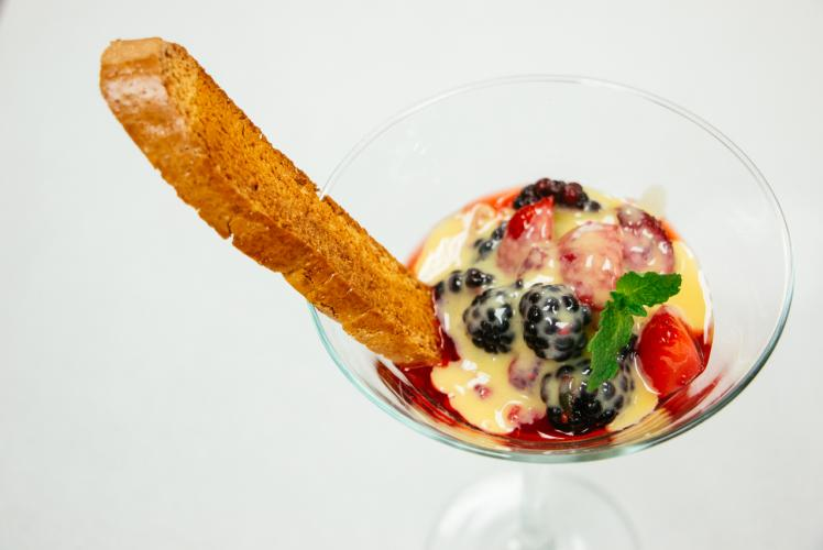 Johnny's Italian Steakhouse Zabaglione and Macerated Mixed Berries Amaretto Biscotti