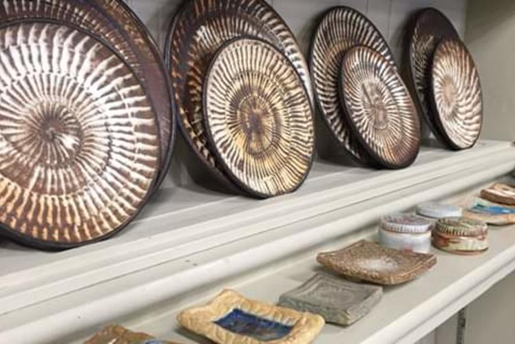 Ceramic Plates on Shelf