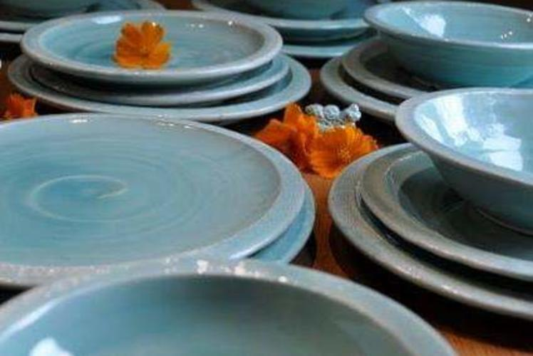 Close Up Blue Bowls and Plates