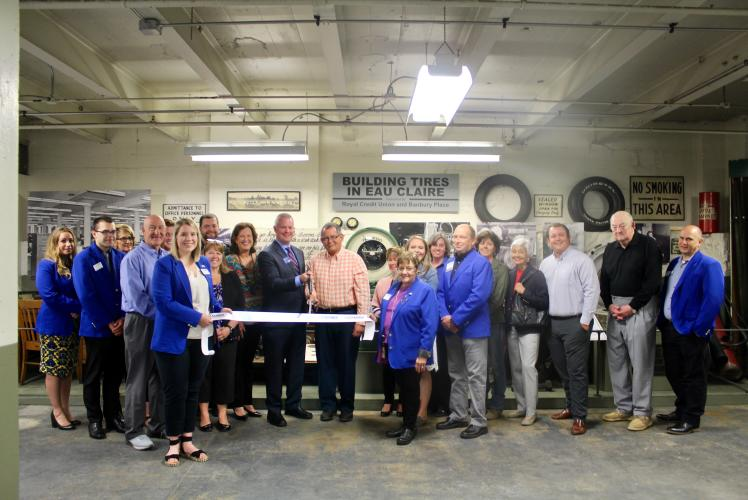 Uniroyal Tire Factory Gallery presented by Royal Credit Union & Banbury Place ribbon cutting