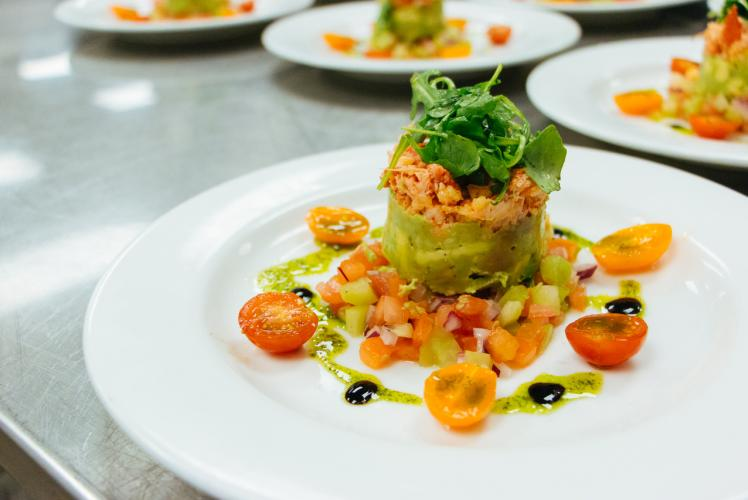 Johnny's Italian Steakhouse Petite Lobster Salad and Heirloom Tomato Concasse Fresh Avacado