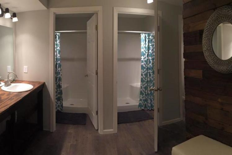 Curvue Hideaway & Trees Retreat Center bathroom in Eau Claire, Wisconsin
