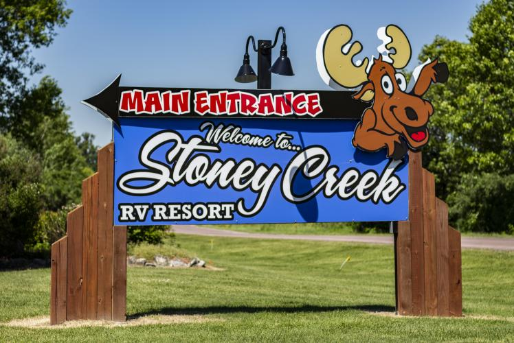 Stoney Creek entrance signage in Osseo, WI