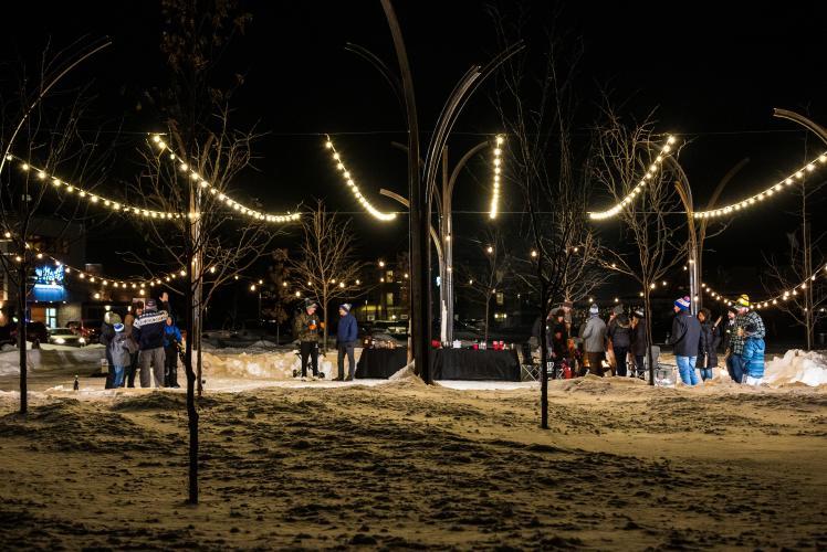 Winter Kubb in River Prairie Park in Altoona, Wisconsin