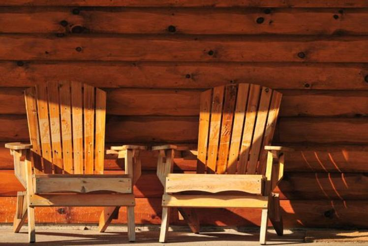 Chairs on Deck at White's Wildwood Retreat Vacation Homes in Chippewa Falls, Wisconsin