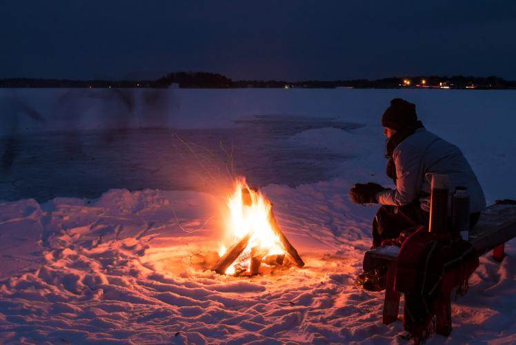 Winter Campfire at the Hideaway Resort - Chippewa Falls, WI