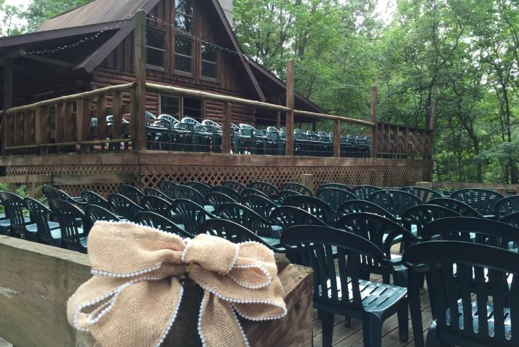 Cabin Ridge Rides Outdoor Seating with Lodge View