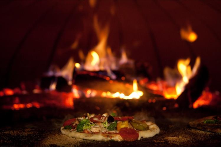 Flatbread Social fireplace and pizza