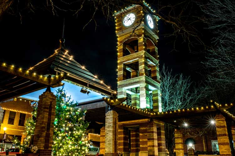Downtown Overland Park Christmas Tree and clock tower