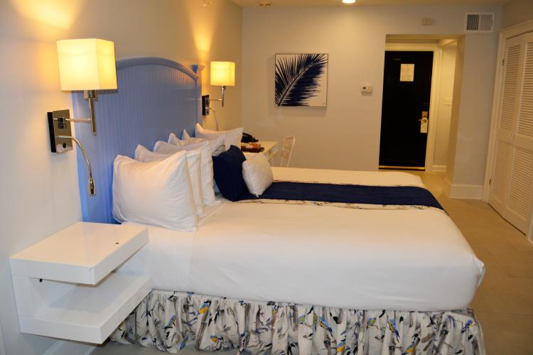 Modern blue and white room with blue feather print on wall