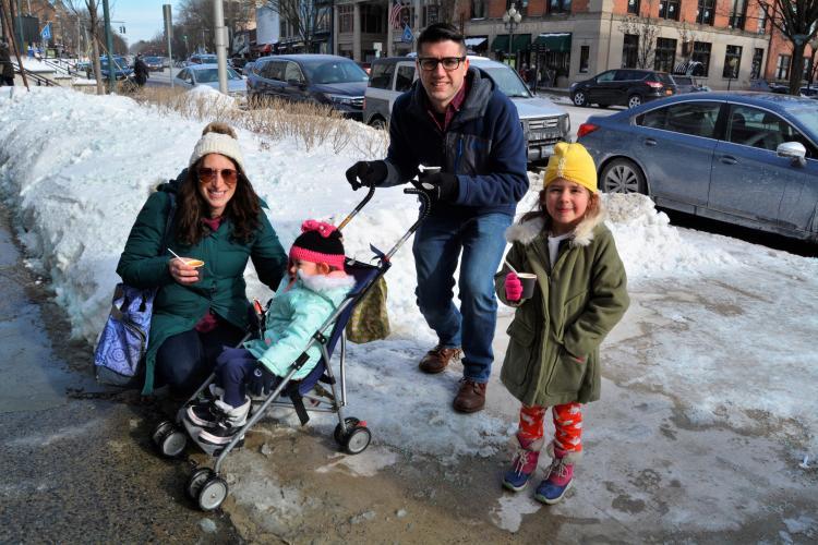 Family on sidewalk