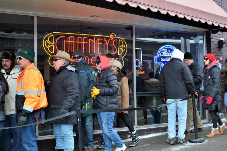 Line in front of Gaffneys