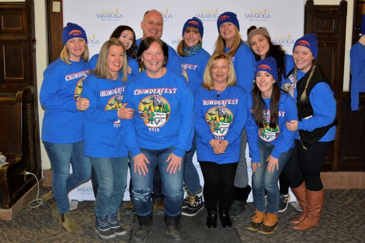 Group shot of the Discover Saratoga team wearing blue Chowderfest shirts