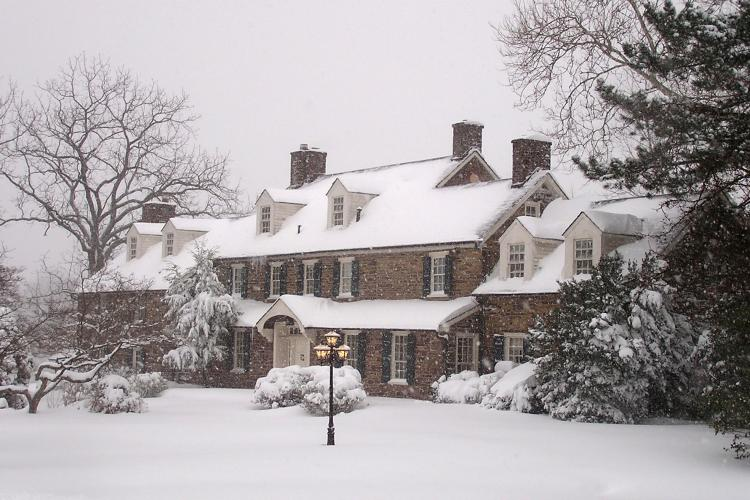 A breathtaking snow-covered Pearl S. Buck House in winter stands as a memorial to Pearl S. Buck, the author of The Good Earth who dedicated her life to helping underpriviledged children.