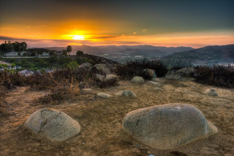 The view of a beautiful sunset from Turtle Rock Trail.