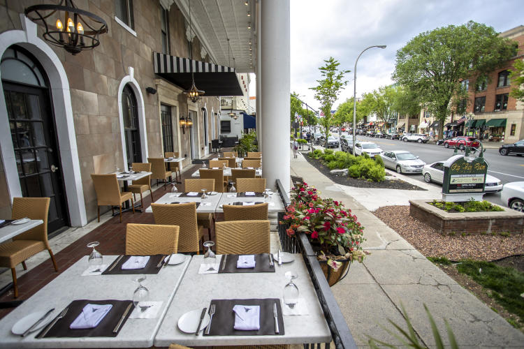 Empty patio dining at Salt & Char in downtown Saratoga Springs