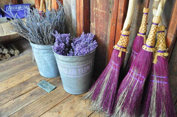 Lavender brooms and cut bouquets in the gift shop at Lavenlair Farm