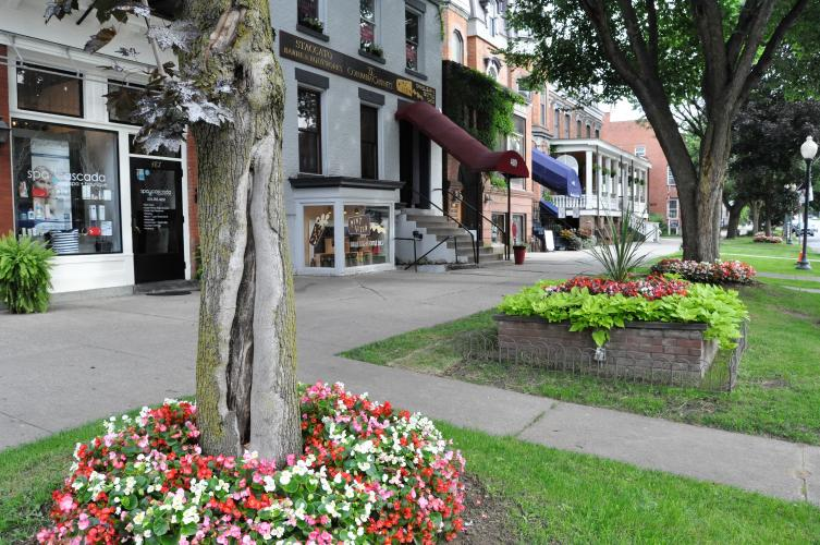 Beds with flowers and bright green plants by Pint Sized