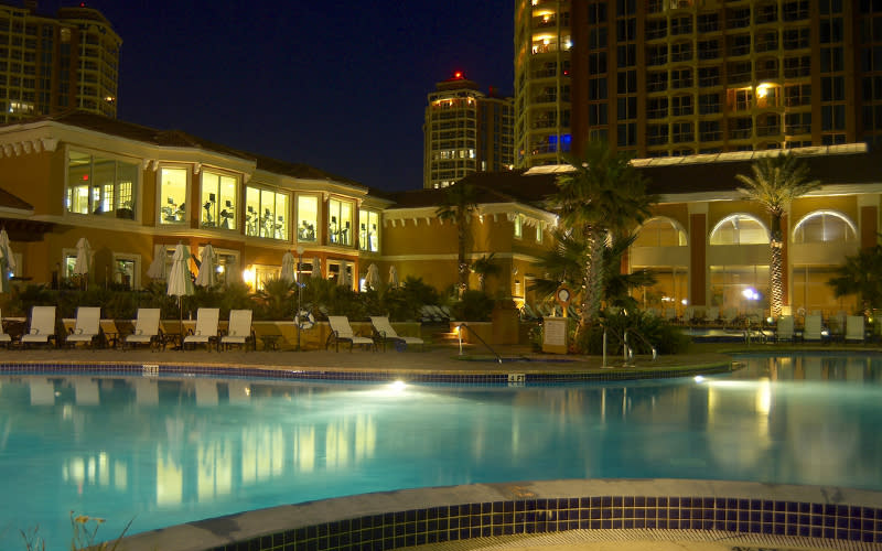 Portofino Island Resort pool deck at night
