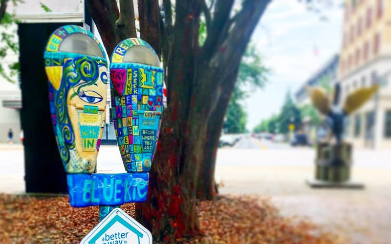 Painted parking meters downtown