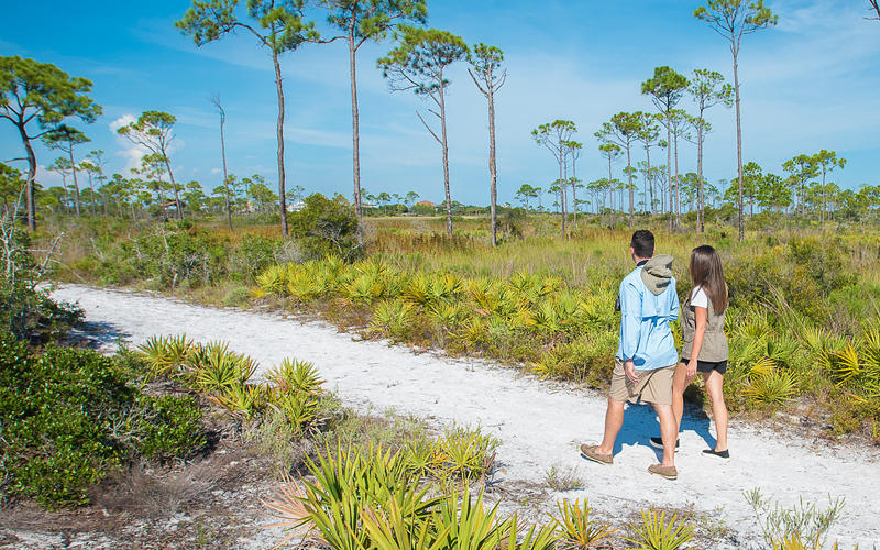 Couple hiking at Perdido Key State Park