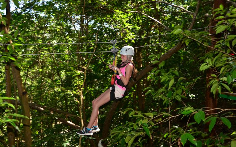 Ziplining at Mystic Mountiain _little girl