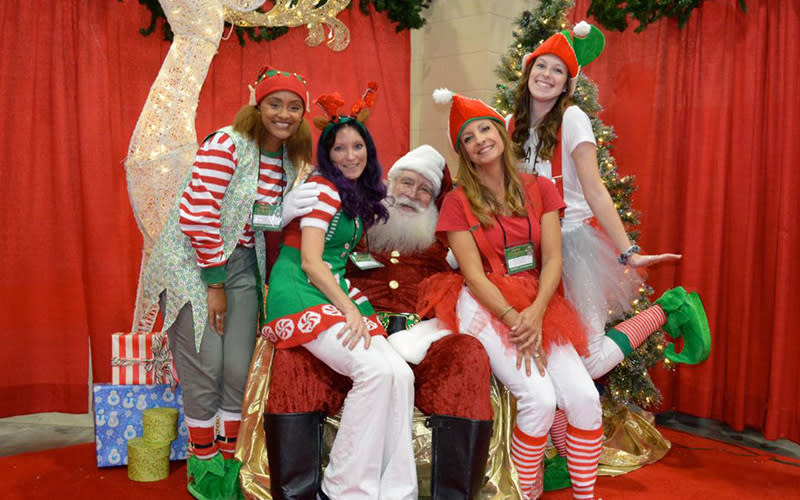 Santa and elves at Dickens Christmas Show and Festival