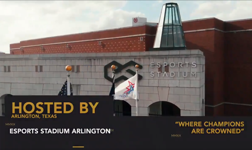 "Photo of Esports Stadium Arlington with graphic that says ""Hosted by Arlington, Texas, Esports Stadium Arlington, Where Champions Are Crowned"""