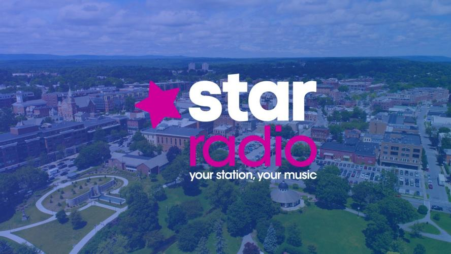 Star Radio logo superimposed over city photo