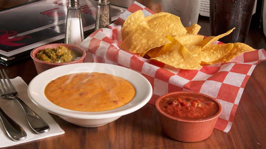 Queso, chips and and salsa at Candelite Inn Restaurant
