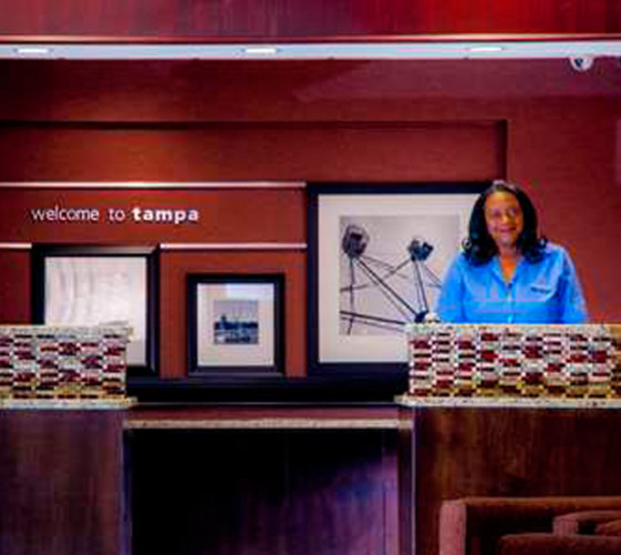 Front desk Hampton Inn & Suites Tampa North.