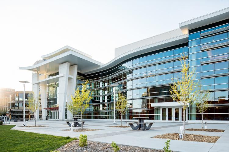 Mayo Civic Center Exterior with Wave Wall