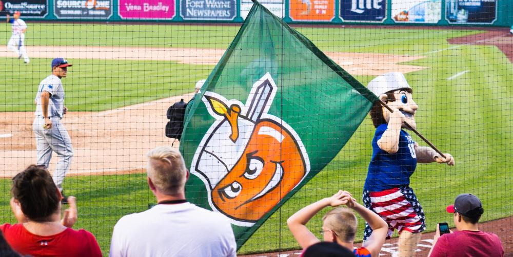 Johnny TinCap thrills the crowd at a TinCaps game at Parkview Field in downtown Fort Wayne
