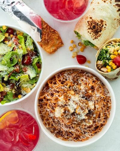 Pasta, drinks, and salads from Piada Italian Street Food