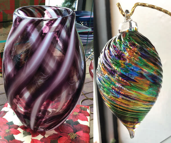Glass Vase and Glass Ornament from Fireworks Glass Studio