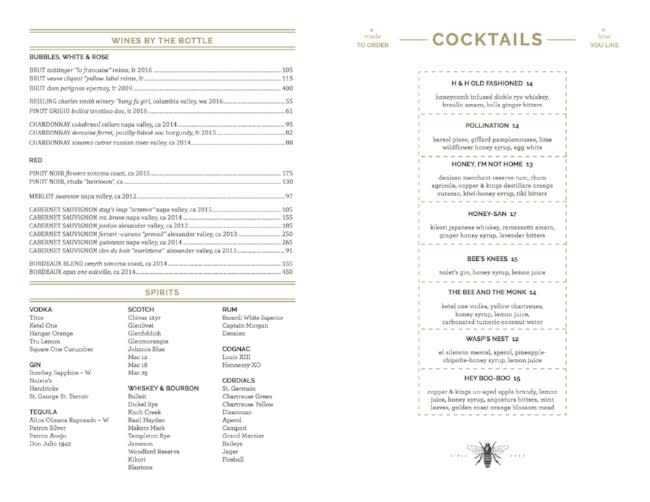 Drink menu at Hive and Honey